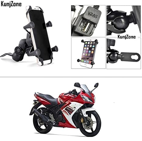 Kunjzone motorcycle phone mount with usb charger for: amazon. In.