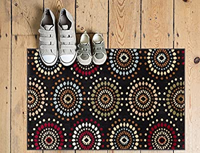 Blossom Valley Black Multi Floral Nature Modern Casual Area Rug Easy to Clean Stain / Fade Resistant Shed Free Abstract Retro Geometric Pattern Soft Living Dining Room Rug