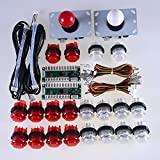 (US) Easyget 2 Player LED Arcade Game DIY Parts PC to Joystick For USB MAME Cabinet & Raspberry Pi RetroPie DIY Projects Red + White Kit