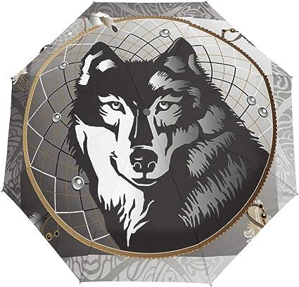 Coupe-Vent Anti-UV pour gar/çons Filles Hommes et Femmes BIGJOKE Parapluie Pliable /à Ouverture Automatique avec Motif Loup Sauvage L/éger Compact