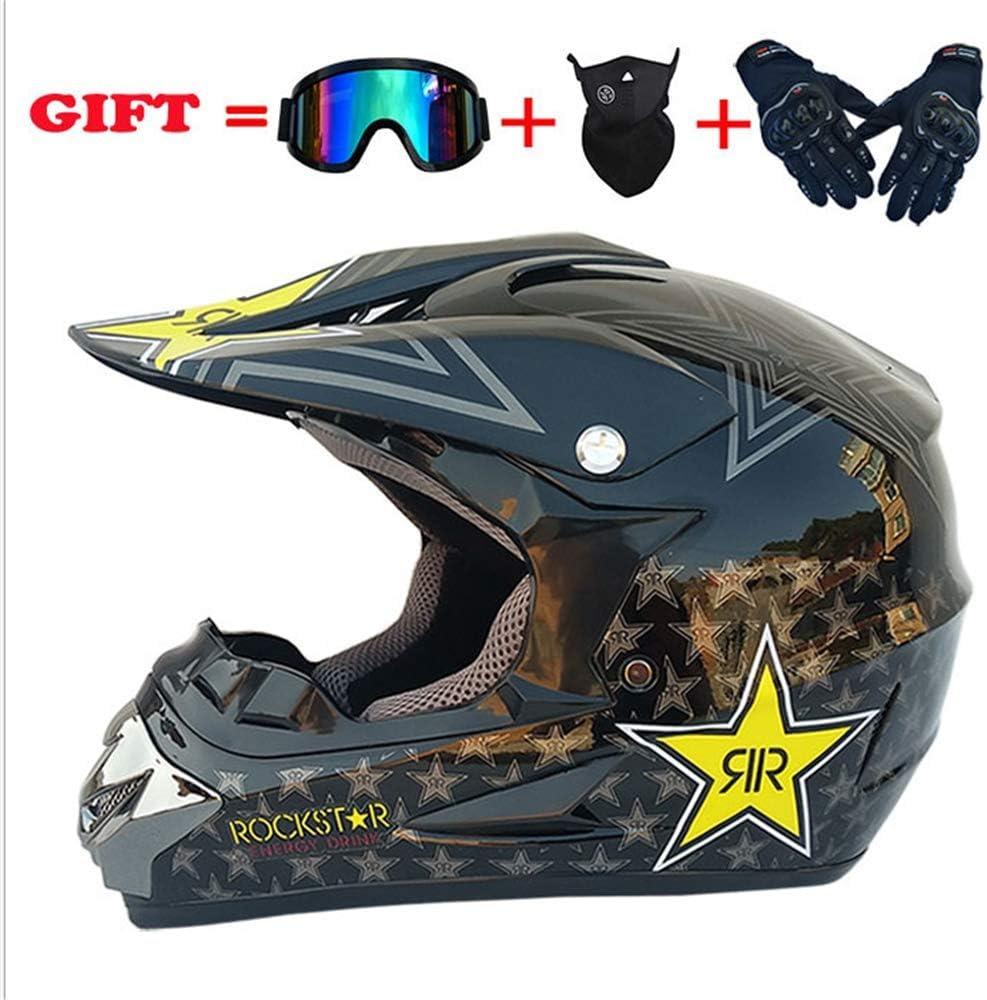 4 juegos guantes con m/áscara color negro Casco para motocross casco de ciudad JWL pentagrama personalidad creativa casco de bicicleta de monta/ña casco de motocross casco de motocross