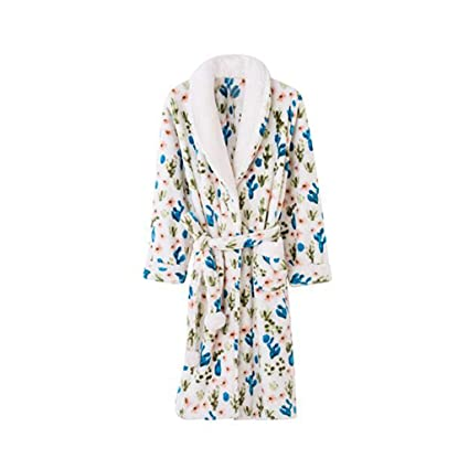 Bathrobe GJM Shop cotton with pockets 100% Polyester Fiber Winter Ms  Thickening Nightgown Long Sleeves a7cf341fd