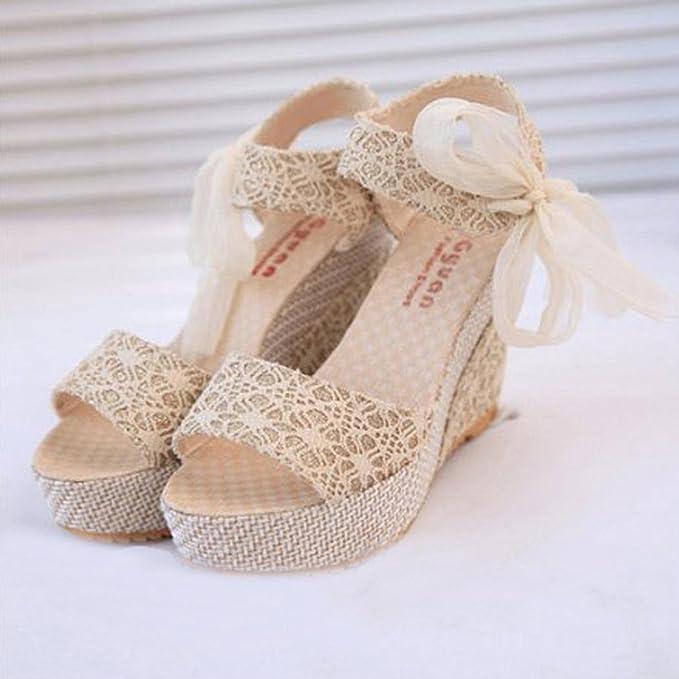 Sandalias mujer, Manadlian Sandalias de mujer Pendiente con chanclas Verano de moda Mocasines Zapatos (CN 37, Blanco): Amazon.es: Belleza