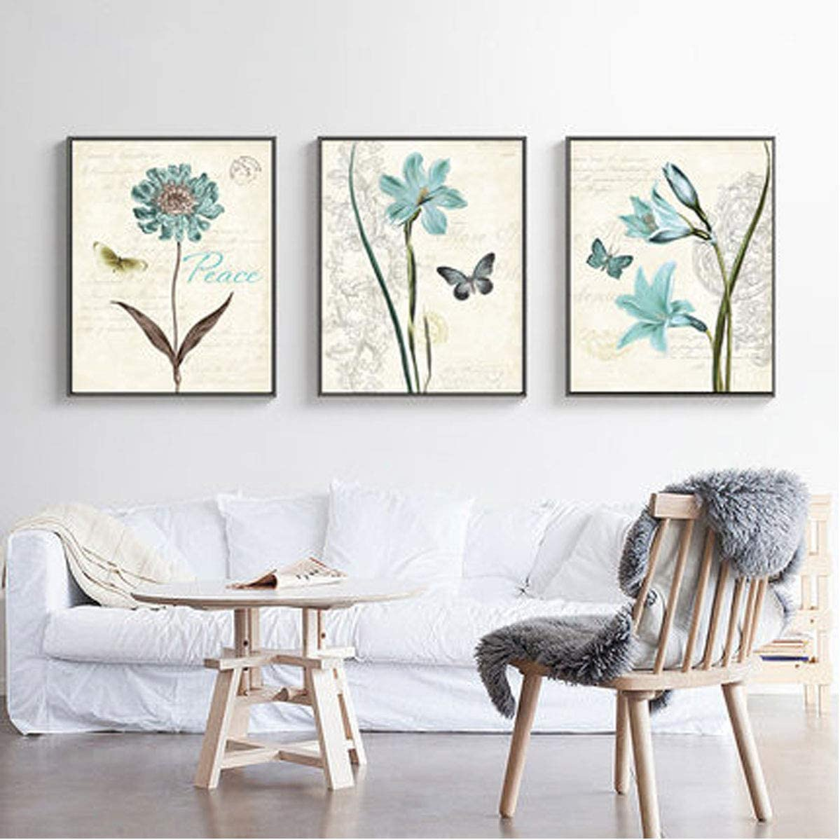 Fltaheroo 5 Panels 5D DIY Full Square Diamond Painting Abstract Flowers Multi-Picture Combination 3D Embroidery Kit Home Decor Style1