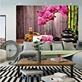 SoSung Spa Decor Huge Photo Wall Mural,Spa Orchid Flowers Rocks Bamboo Asian Style Aromatherapy Massage Therapy Decorative,Self-Adhesive Large Wallpaper for Home Decor 100x144 inches,