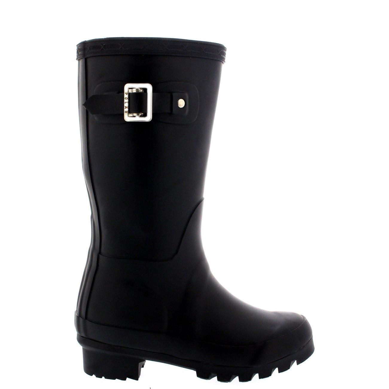Unisex Kids Original Plain Wellie Rain Snow Winter Waterproof Mud Boots - 4 - BLA36 BL0189 by POLAR (Image #4)