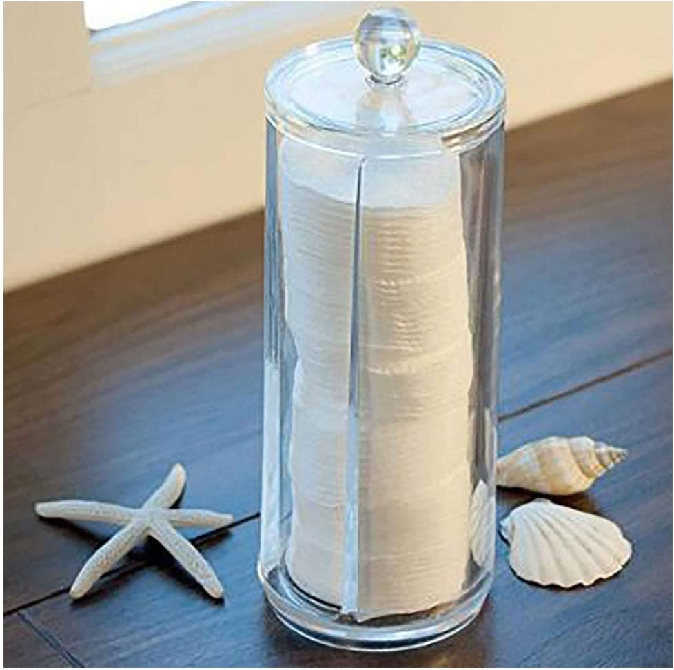 LAM Dispensador Transparente del cojín de algodón de la Bola de algodón, con la organización del Almacenamiento de la Esponja de algodón del Cepillo del Maquillaje de la Tapa, para el Cuarto
