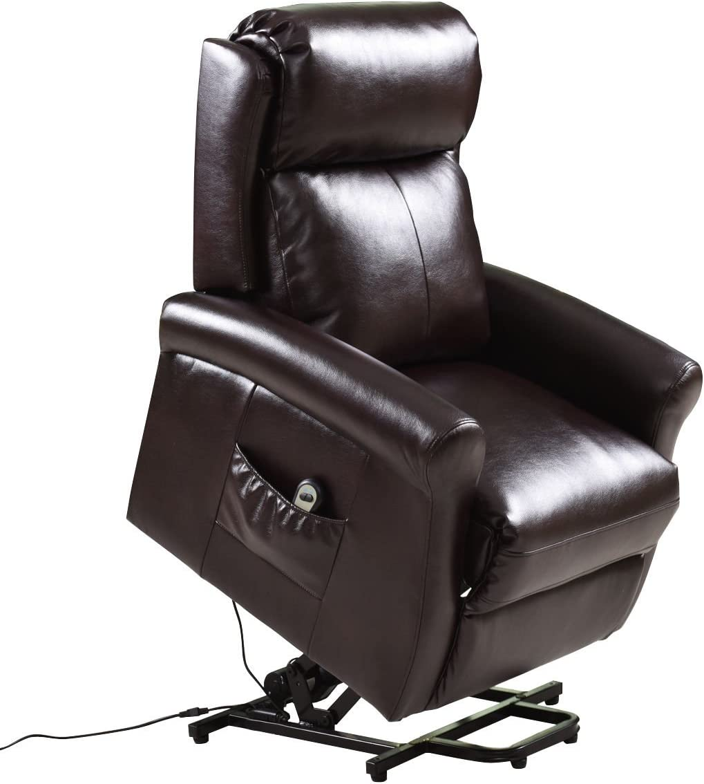 Giantex Power Lift Reclining Chair Recliners PU Leather for Elders Living Room Bedroom with Remote Control, Brown