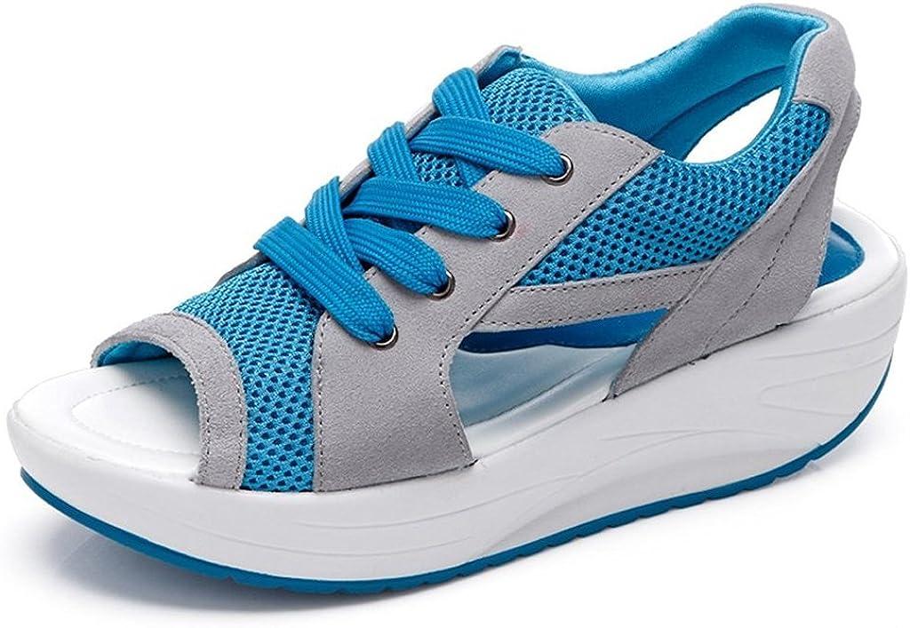 Bdawin Zapatos de Mujer Cuña Sandalias Plataforma Malla Respirable Peep Toe Shape Ups Andar Deporte Zapatilla
