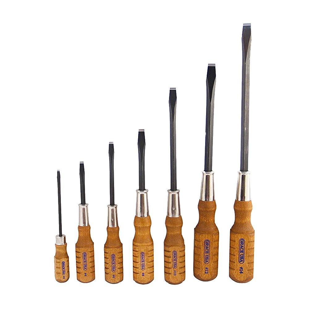 Grace USA - Wood Screw Screwdriver 7 Piece Set - SDWS7 - Screwdrivers - Woodworking Screwdrivers - 7 pieces - Professional Quality Screwdriver Set by Grace USA