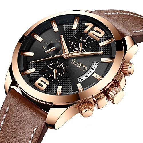 Men Military Chronograph Watch Classic Men Sport Brown Leather Strap Casual Waterproof Quartz Wrist Watch with Date - Mens Brown Leather Sport Watch