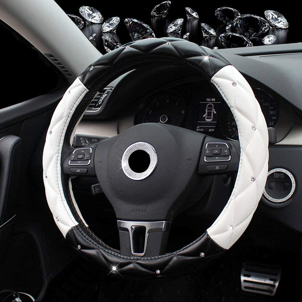 Black Red Mayco Bell Diamond Steeing Wheel Cover for Women,Leather Bling Cute Car Steering Wheel Cover Universal 15inch with Crystal Diamond