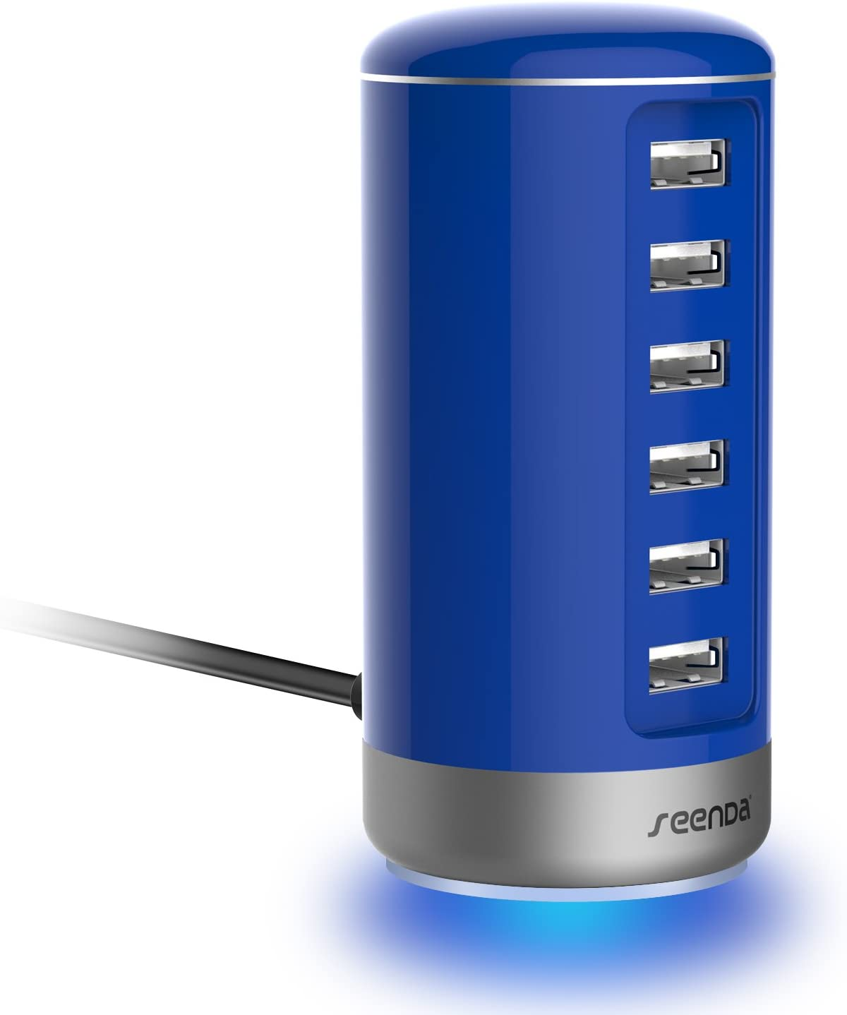 seenda 6 Port USB Charging Station USB Desktop Charger with Smart Identification - Blue