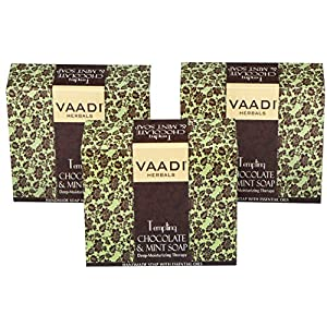 Chocolate and Mint Bar Soap (DOUBLE SIZE) - Deep Moisturising Therapy - Handmade Herbal Soap - ALL Natural - Best Moisturizer - Each 150 Grams 5.3 Ounces - Pack of 3 (1 Pound) - Vaadi Herbals