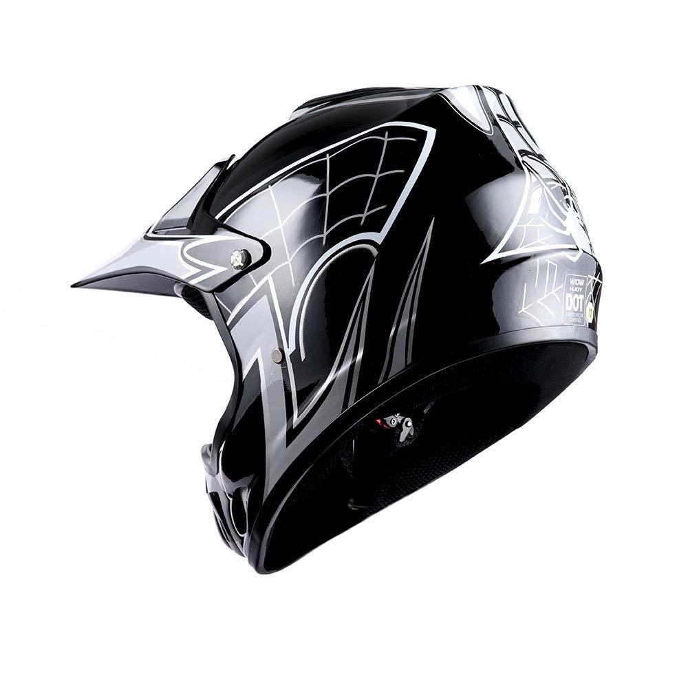 Goggles WOW Youth Motocross Helmet BMX MX ATV Dirt Bike Helmet Matt Star Pink Skeleton Pink Glove Bundle