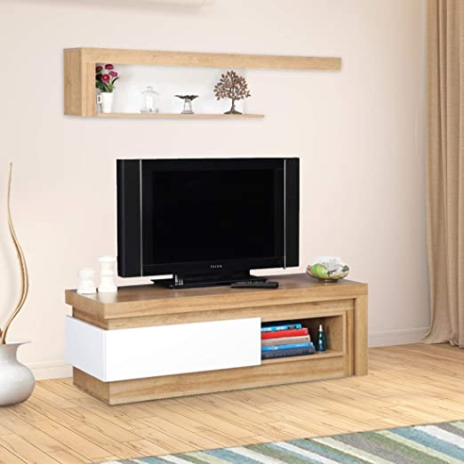 HomeTown Beatrice Engineered Wood TV Unit in White High Gloss + Oak Colour TV   Entertainment Units
