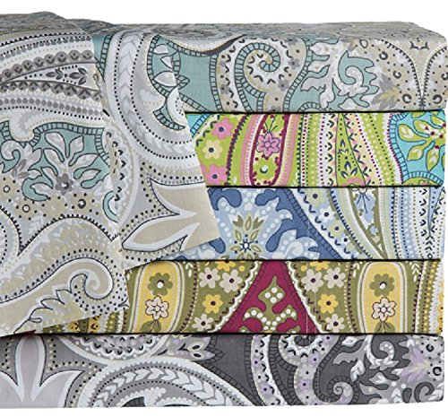 "Paisley Sheet Set 100% Cotton 300 TC 15"" Deep Pockets Flat Fitted Pillowcases (Twin, Bugundy)"
