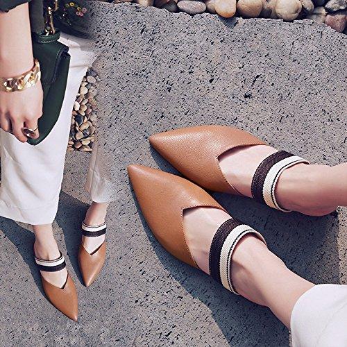 Sandalias Mujer Versión Coreana De British Señaló Baotou Cinturón Zapatos Fashion Show Fino Código Arrastre Hembra Grande Fresco Brown