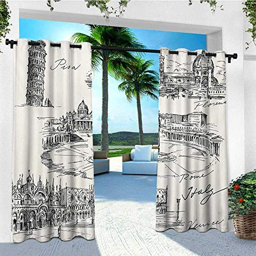 Sketchy, Outdoor Curtain panels Set of 2, Travel the World Themed Historical Italian Landmarks Venice Rome Florence Pisa, Outdoor Curtain panels for Patio Waterproof W96 x L96 Inch Black White