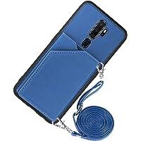 Portemonnee Creditcard Houder met Lanyard Telefoon Case voor OPPO A9 2020 / A5 2020 / A11 / A11X (blauw)