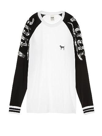 cde8cd4f41452 Victoria's Secret Pink Bling Long Sleeve Raglan T-Shirt White ...