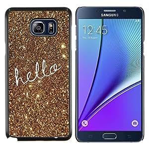 - hello text gold Christmas bling glitter/ Duro Snap en el tel??fono celular de la cubierta - Cao - For Samsung Note 5 N9200 N920