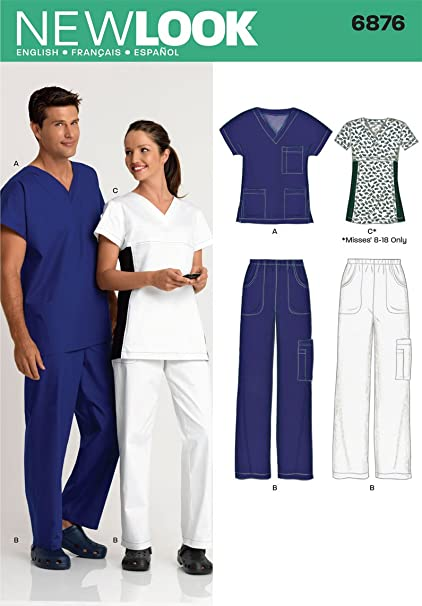 Amazon.com: New Look Sewing Pattern 6876 Miss/Men Scrubs, Size A ...