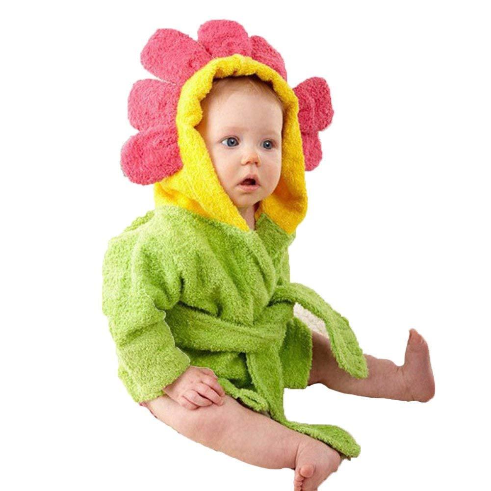 Bébé Garçon/Fille Mignon Animal Doux Peignoir en Coton Capuche Serviettes de Bain pour Bébé