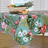 Everyday Luxuries by Newbridge Island Bloom Flannel Backed Indoor Outdoor Vinyl Table Linens, 52-Inch by 70-Inch Oblong (Rectangle) Tablecloth