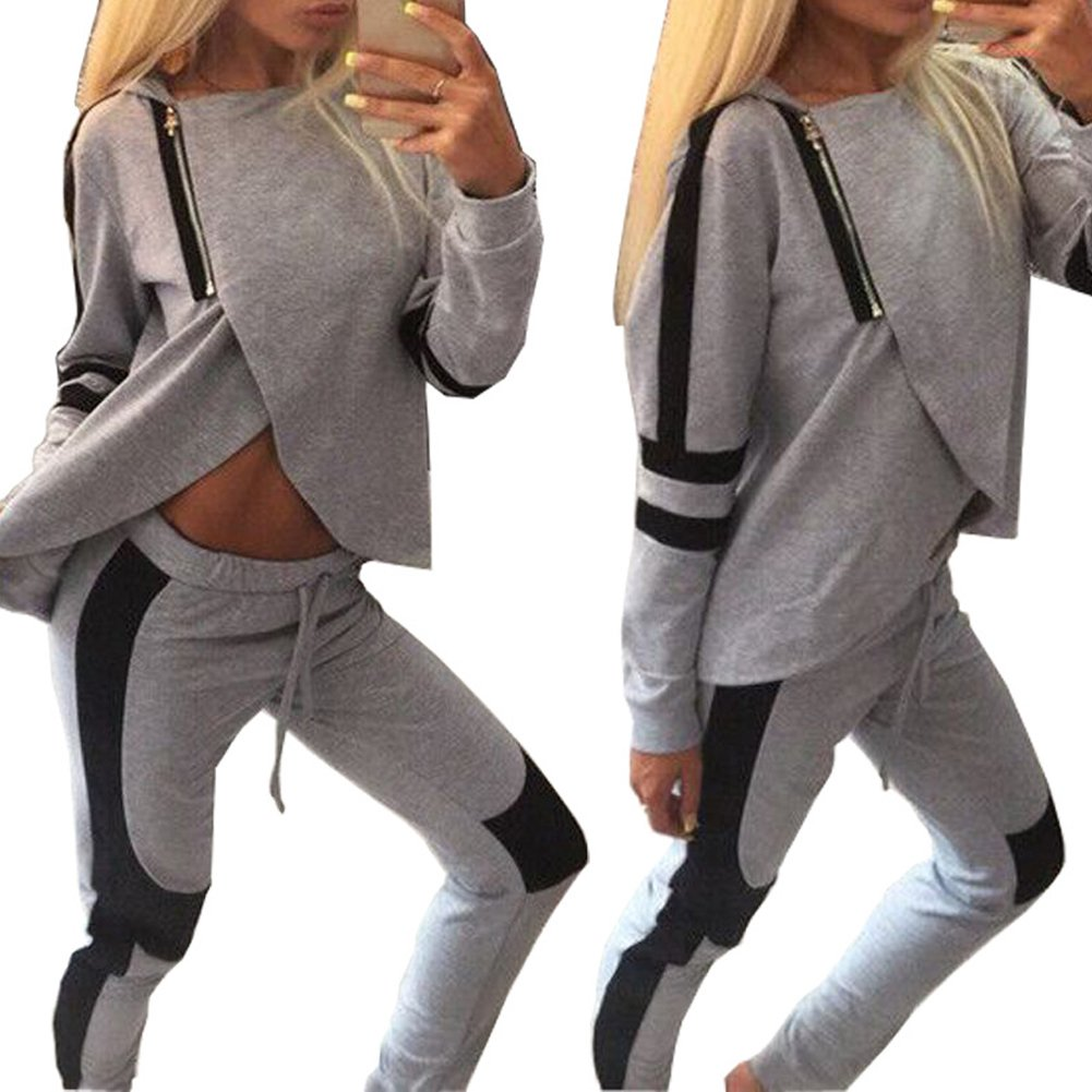 Bodycon4U Women's Tracksuit Seamless Yoga Sport Athletic Hoodie and Pant Set Gym Outfit
