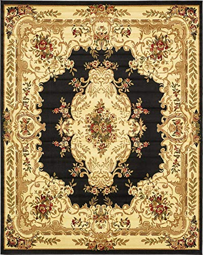 - Unique Loom Versailles Collection Traditional Classic Black Area Rug (8' 0 x 10' 0)