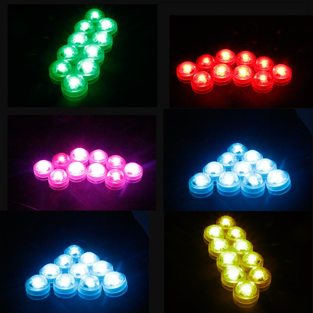 10Pack Mini Submersible Lights,LUXJET® Waterproof Underwater Lights with Remote control,Colorful Mood Lights for Aquarium, Vase, Pond, Swimming Pool, Garden,Party, Wedding Decoration(button batteries included)
