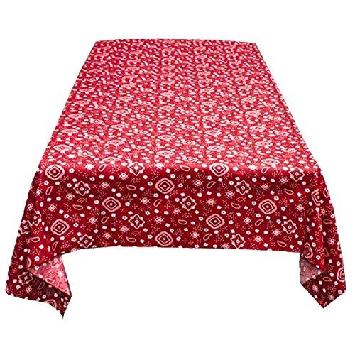 ArtOFabric Decorative Cotton Tablecloth in Red and White Bandanna Print 59x72