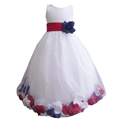 Amazon Com Baby Girls White Red Blue Petals Satin Tulle 3 Layer