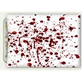 """Minicoso Flannel Throw Blanket Bloody Splashes Of Blood Grunge Style Bloodstain Horror Scary Zombie Halloween Themed Print Red White Autumn Winter Warm Double Sides Print Blanketry, 47"""" W x 31"""" H"""