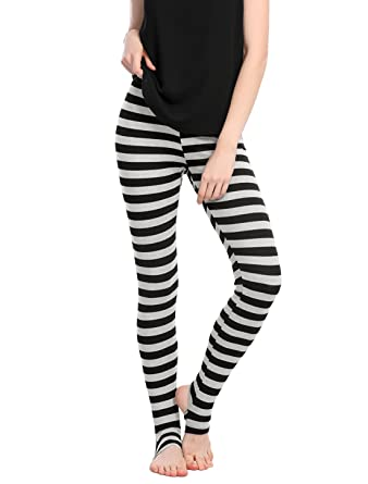 5f509f3d3271e Allegra K Women's Leggings Stripes High Waist Elastic Waistband Stirrup  Pants Black XS (US 2