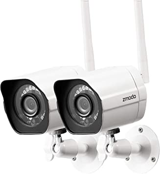 Zmodo Outdoor Security Camera Wireless (2 Pack), 1080p Full HD Home Security Camera System, Works with Alexa and Google Assistant, Silver (ZM-W0002-2)