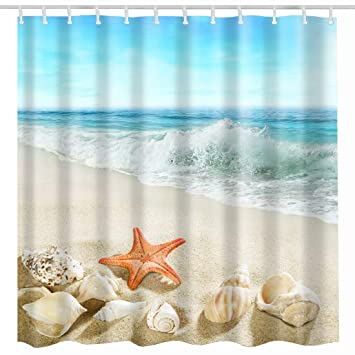 Broshan Beach Seashell Shower Curtain Set Summer Seashore Sea Shells Starfish Stones On Beach Blue Ocean Bath Curtain Seaside Landscape Bathroom