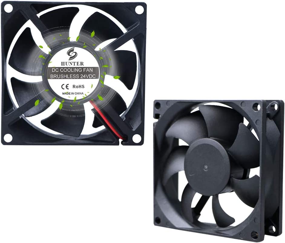 2Pack 80mm PC Standard Case Cooling Fan, 24V 8025 80x80x25mm High Performance Cooling Fan