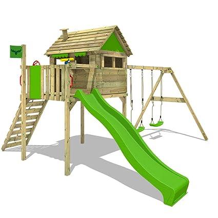Fatmoose Parco Giochi In Legno Funfactory Fit Xxl Giochi Da Giardino Con Altalena Superswing E Scivolo Casetta Arrampicata Da Gioco Per Bambini