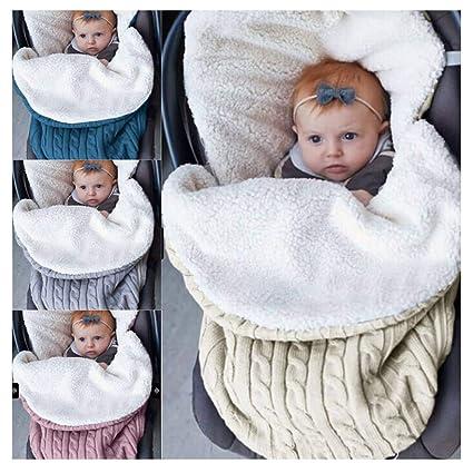 Quner Bebé de punto Wrap Swaddle Blankie saco de dormir suave cálido paño grueso y suave