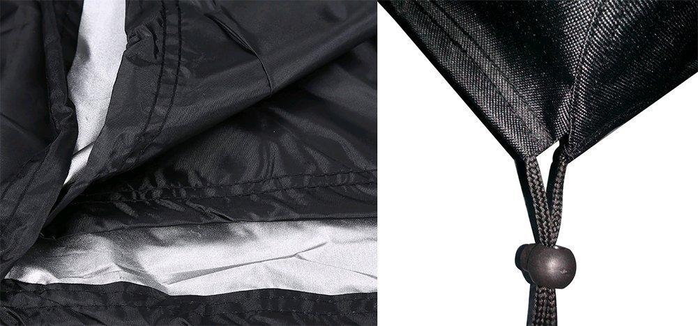 DaoRier 1pc Rectangular mesa sillas Cubierta Protectora Resistente al agua a Prueba de polvo Plegable mesa de exterior color negro 213*132*74cm