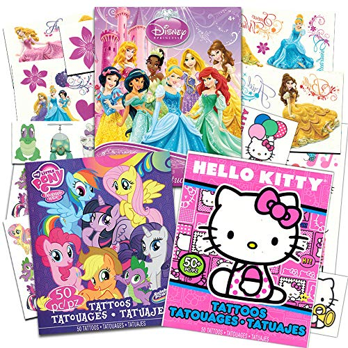 Savvi Temporary Tattoos Party Pack for Girls -- Over 150 Tattoos Featuring My Little Pony, Disney Princess and Hello -