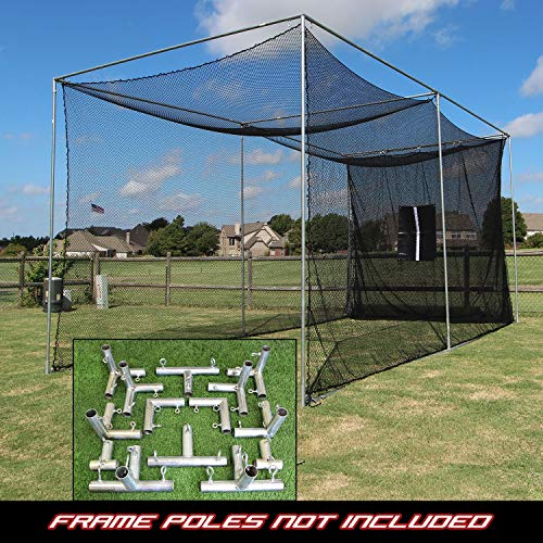 Jones Sports Golf Cage Practice Net 20' x 10' x 10' (#252 Poly) Frame Kit & Baffle ()