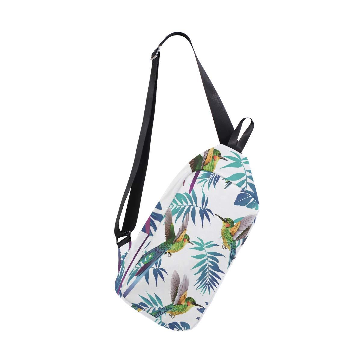 AHOMY Hummingbird Tropical Leaf Messenger Bag Small Travel School Sling Bag Crossbody Bag