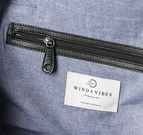 """WIND & VIBES MILAN """"BLACK"""" - Weekender Reisetasche aus Baumwoll Canvas und Echtleder (Handgepäckmaße). Handgefertigte Design Tasche aus schwarzem Canvas und schwarzem Leder."""