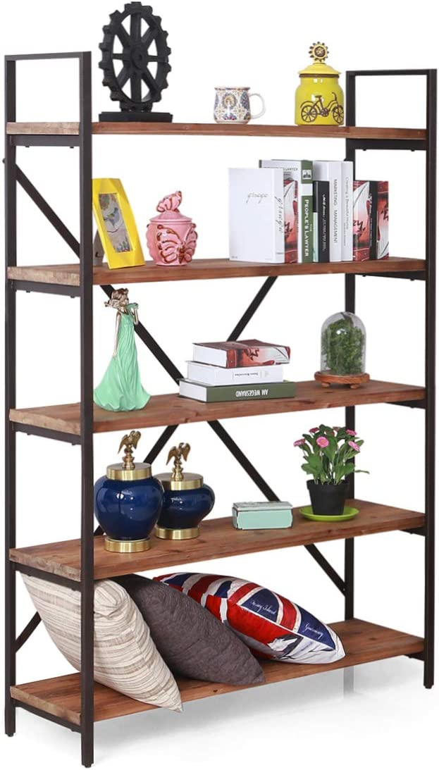 Care Royal Vintage 5 Tier Open Back Storage Bookshelf, Industrial 69.5 inches H Bookcase, Decor Display Shelf, Living Room, Home Office, Natural Solid Reclaimed Wood, Sturdy Rustic Brown Metal Frame