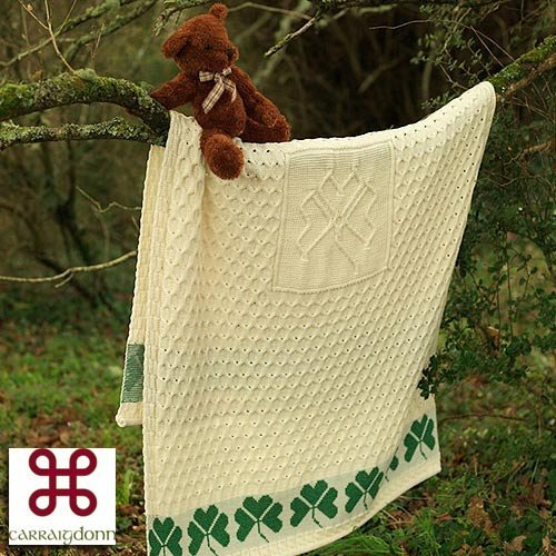 Large Shamrock Blanket By Carraig - Stores Clothing Westport