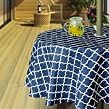 Hipinger Heavyweight Wrinkle-Free Stain Resistant Waterproof Outdoor Tablecloth With Umbrella Hole and Zipper,60 Inch Round, Navy Blue, Seats 4 People