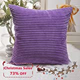 Decorative Pillow Cover - Home Brilliant Decor Supersoft Striped Velvet Corduroy Decorative Euro Sham Throw Pillow Cushion Cover for Couch, Eggplant, (66x66 cm, 26inch)